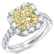 2.71 Ct. Canary Fancy Yellow Cushion Cut Diamond Halo Style Engagement Ring GIA.SI2