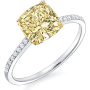 3.26 Ct. Canary Fancy Intense Cushion Cut Solitaire GIA, SI2