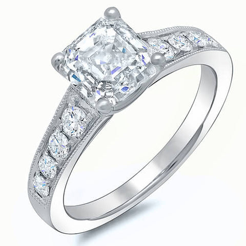 2.45 Ct. Asscher Cut w/ Milgrain Detail Diamond Engagement Ring G,VVS2 GIA