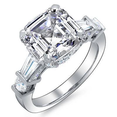 2.34 Ct. Asscher Cut, Baguette & Round Channel & Pave Diamond Engagement Ring I, IF GIA
