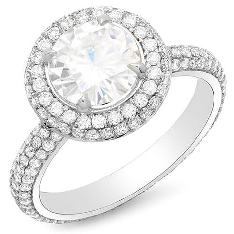 2.01 Ct. Halo Round Brilliant Cut Eternity Micro Pave Diamond Engagement Ring F,VS2 GIA