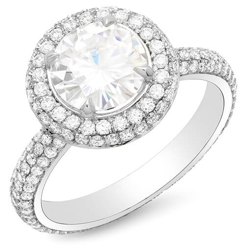 3.81 Ct. Halo Round Brilliant Cut Eternity Micro Pave Diamond Engagement Ring G,SI1 GIA