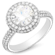 4.52 Ct. Halo Round Brilliant Cut Eternity Micro Pave Diamond Engagement Ring I,SI2 GIA