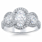 2.76 Ct. Art Deco Oval Cut Halo Diamond Engagement Ring H,VS2 GIA