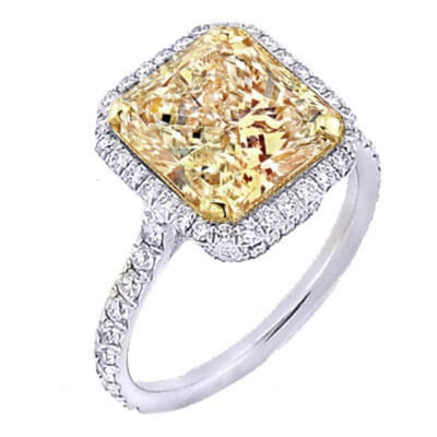 1.92 Ct. Radiant Cut Canary Fancy Yellow Diamond Engagement Ring GIA VS1