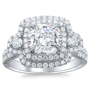 3.51 Ct. Round Brilliant Cut Double Halo U-Pave Diamond Engagement Ring G,SI1 GIA