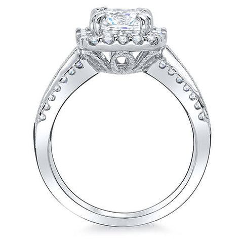 Halo Square Cushion Cut w Baguettes Diamond Engagement Ring side view
