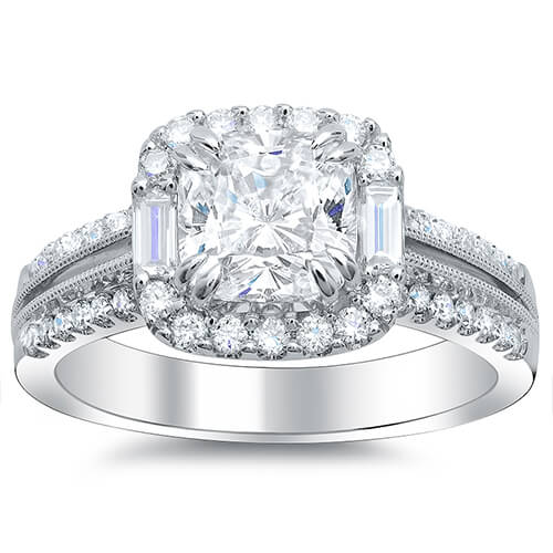 Halo Square Cushion Cut w Baguettes Diamond Engagement Ring front view