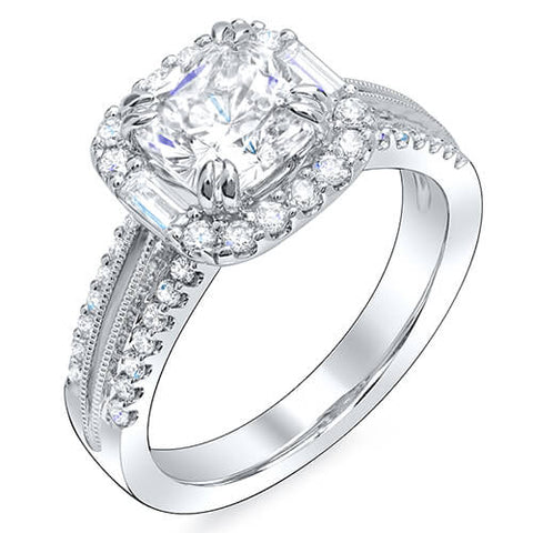 Halo Square Cushion Cut w Baguettes Diamond Engagement Ring