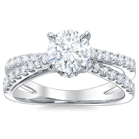 2.91 Ct. Round Cut Cross Over Split Shank Diamond Engagement Ring G,SI1 GIA