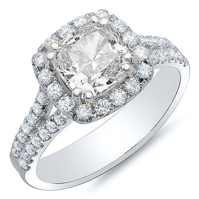 2.62 Ct. Halo Cushion Cut U-Setting Split Shank Diamond Engagement Ring GIA H,VVS2