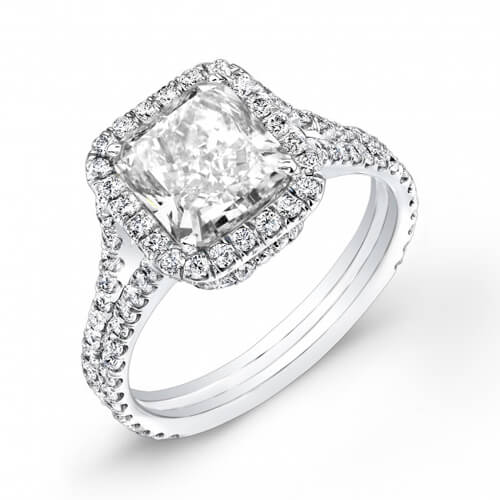 3.80 Ct. Radiant Cut Halo U-Setting Split Shank Diamond Engagement Ring H,VS1 GIA