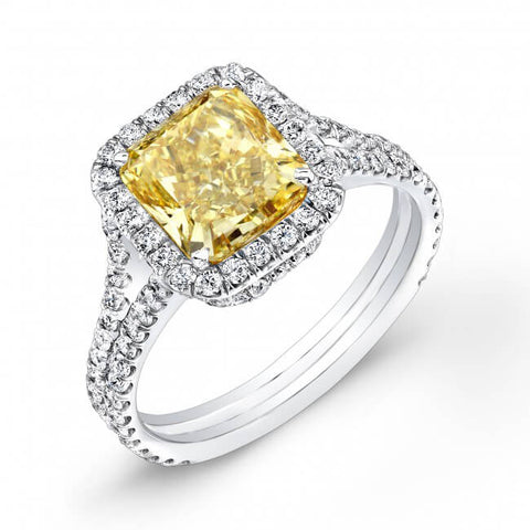 Fancy Yellow Halo Radiant Cut Split Shank Diamond Ring