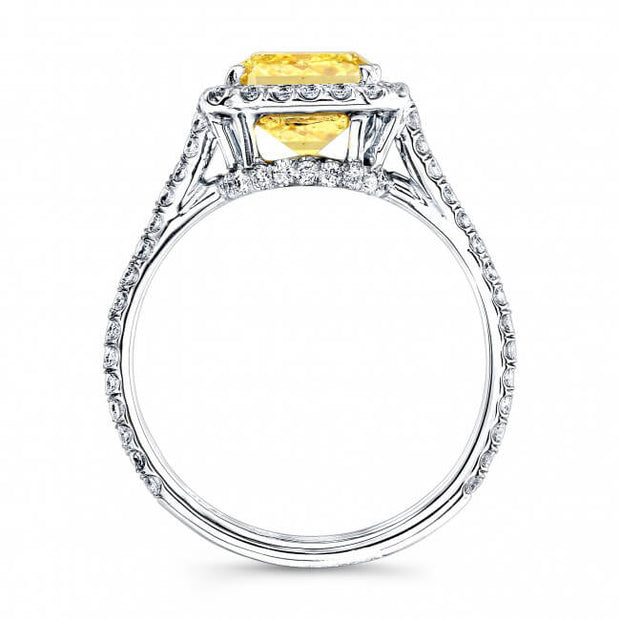 1.82 Ct. Radiant Cut Canary Fancy Yellow Halo Diamond Engagement Ring GIA VS1