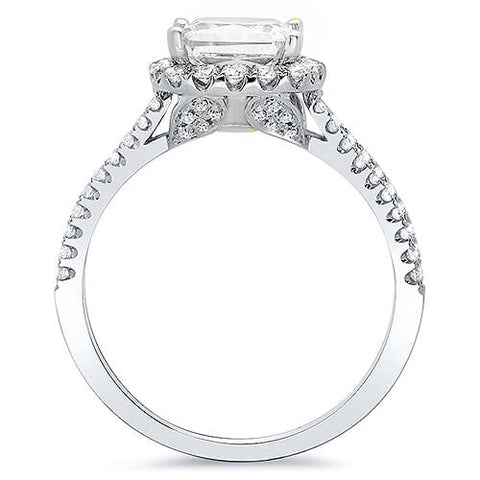 2.60 Ct. Radiant Cut Diamond Halo Engagement Ring H, VS2 GIA