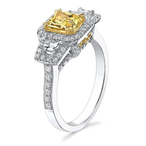 1.84 Ct. Canary Fancy Yellow Radiant Cut Diamond Ring (GIA Certified)