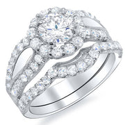 3.56 Ct. Halo Round Cut Loop U-Setting Diamond Bridal Set G,SI1 GIA