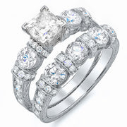3.05 Ct. Princess Cut Vintage Diamond Engagement Ring Set E,VS1 GIA