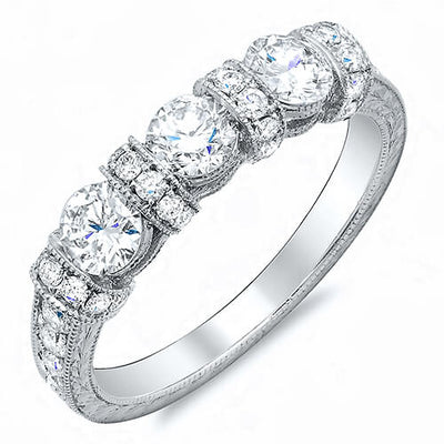 0.75 Ct. Art Deco Round Cut Diamond Wedding Band