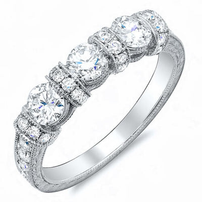 1.00 Ct. Art Deco Round Cut Diamond Wedding Band