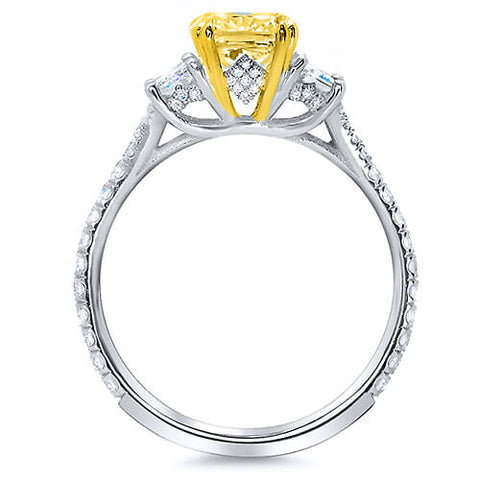 1.97 Ct. Canary Fancy Yellow Radiant Cut Diamond Engagement Ring Set GIA VS1