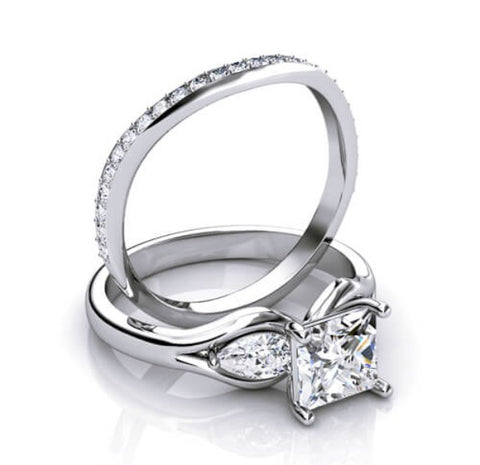 2.75 Ct Princess & Pear Cut Diamond Engagement Ring Micro Pave Matching Band Set E,VS1 GIA