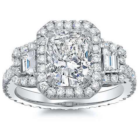 2.81 Ct. Halo Cushion Cut Eternity Diamond Engagement Ring H,VVS2 GIA