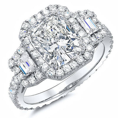 3.11 Ct. Halo Cushion Cut Eternity Diamond Engagement Ring F,VS2 GIA