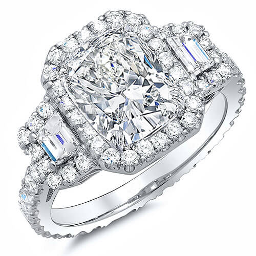 4.50 Ct. Halo Cushion Cut Eternity Diamond Engagement Ring I,VVS1 GIA