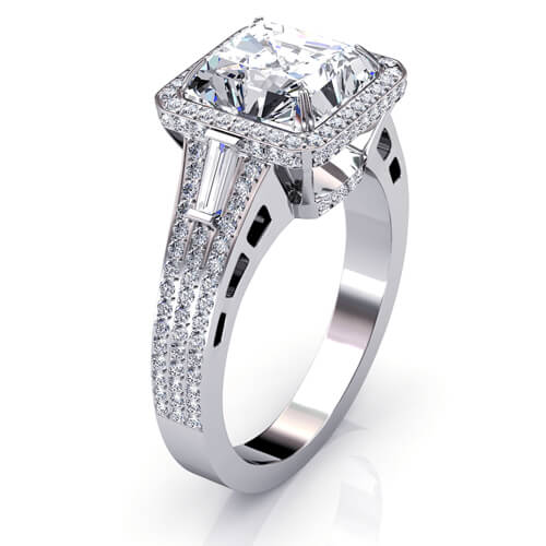 2.60 Ct. Halo Asscher Cut, Baguette & Round Micro Pave Diamond Engagement Ring I,VS1 GIA