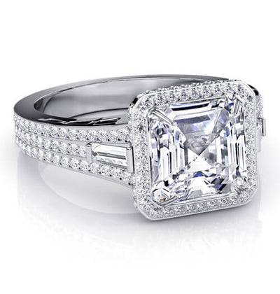 3.35 Ct. Halo Asscher Cut, Baguette & Round Micro Pave Diamond Engagement Ring G,VVS2 GIA