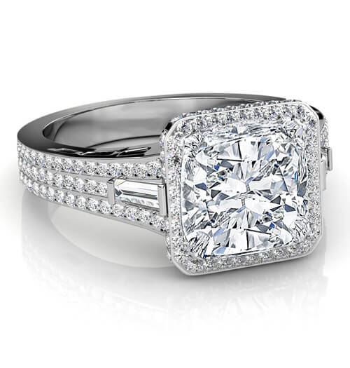 2.61 Ct. Halo Cushion Cut & Baguette Diamond Engagement Ring E,VS1 GIA