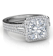 3.01 Ct. Halo Cushion Cut, Baguette & Round Diamond Engagement Ring I,VS2 GIA