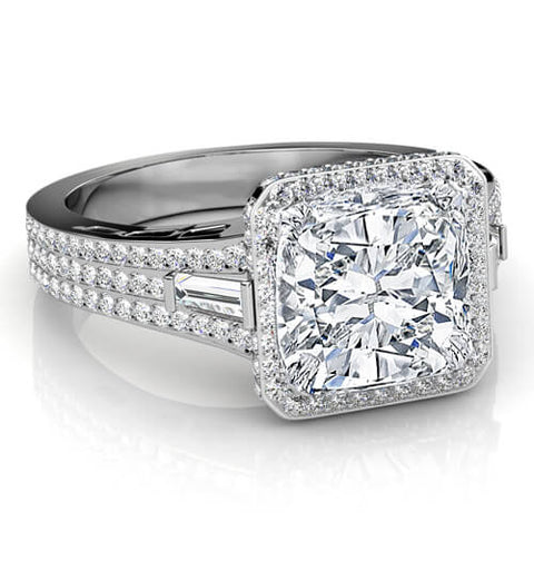 3.31 Ct. Halo Cushion Cut, Baguette & Round Diamond Engagement Ring F,VS2 GIA
