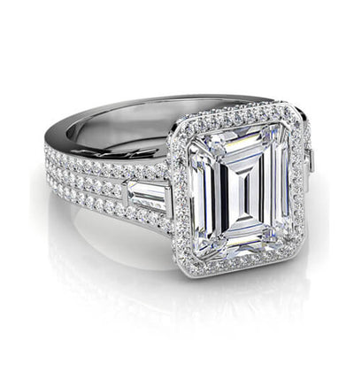 2.54 Ct. Halo Emerald Cut & Baguette Diamond Engagement Ring H,VVS1 GIA