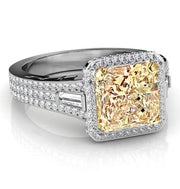3.26 Ct. Canary Fancy Light Yellow Radiant Cut & Baguette Diamond Engagement Ring