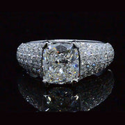 3.63 Ct. Cushion Cut Diamond Engagement Ring 14K GIA H,VVS2