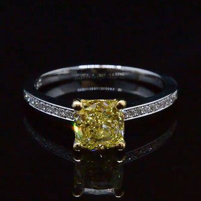 1.55 Ct. Cushion Cut Fancy Yellow Diamond Engagement Ring 14K Two Tone Gold