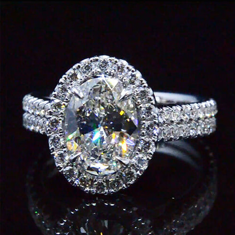 2.81 Ct.  Halo Oval Cut Diamond Engagement Ring