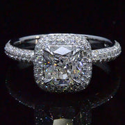 2.24 Ct. Cushion Cut Micro Pave Halo Round Diamond Engagement Ring H, VS2 GIA