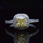 1.90 Ct. Canary Cushion Cut Halo Micro Pave & U-Setting Diamond Engagement Ring VVS2 GIA