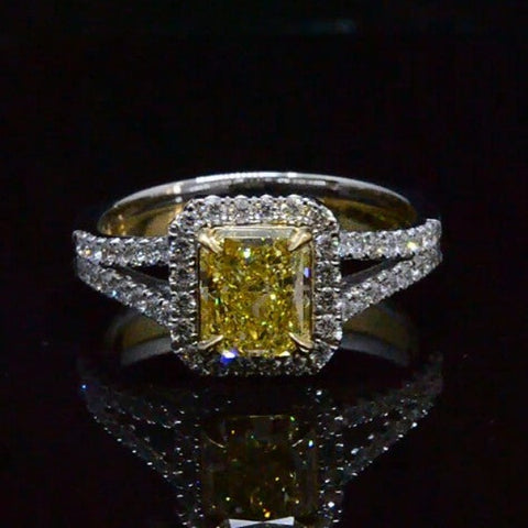2.32 Ct. Canary Fancy Intense Yellow Diamond Engagement Ring GIA