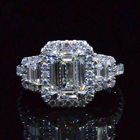 3.05 Ct. Emerald Cut Three Stone Diamond Engagement Ring Eternity Style GIA