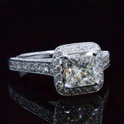 2.39 Ct. Princess Cut w/ Round Cut One Row Halo Diamond Engagement Ring