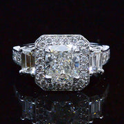 3.03 Ct. Cushion Cut Diamond Engagement Ring GIA