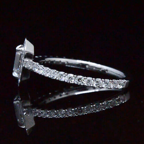1.95 Ct. Emerald Cut Halo Diamond Engagement Ring GIA