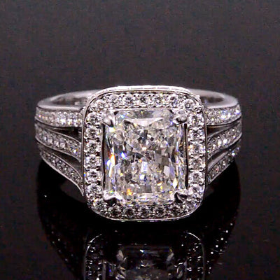 3.91 Ct. Radiant Cut Diamond Engagement Ring G,SI1 GIA