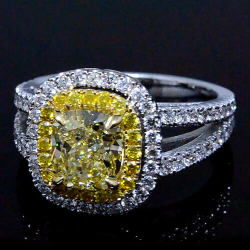 2.04 Ct. Cushion Cut Fancy Yellow Diamond Engagement Ring