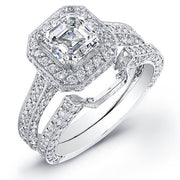 Asscher Cut Halo Diamond Engagement Ring