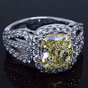 3.67 Ct. Radiant Cut Fancy Yellow Diamond Engagement Ring